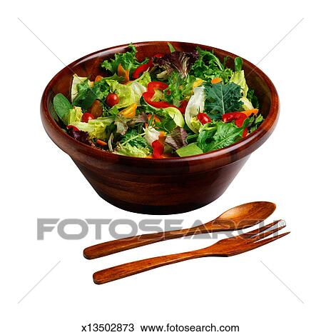 Stock Photo of Green Salad in Wooden Bowl with Fork and ...