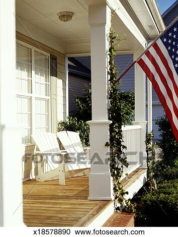 Front Porch Clipart stock photography of american flag flying from front porch of home