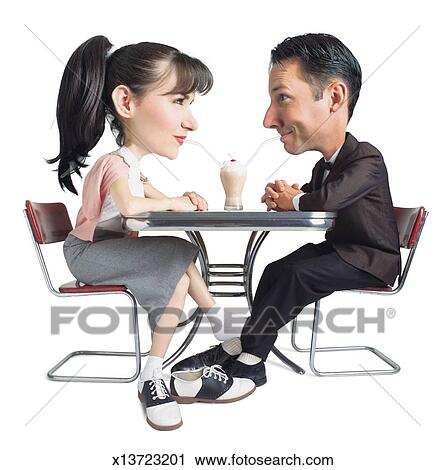 Stock Photography of caricature of caucasian 50s era young couple ...