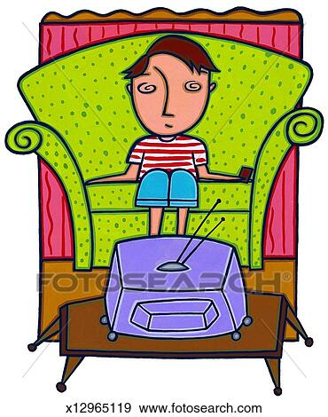 boy watching tv clipart. boy watching television tv clipart