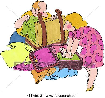 Clipart of Mr. & Mrs. Packing for Trip x14795731 - Search ...