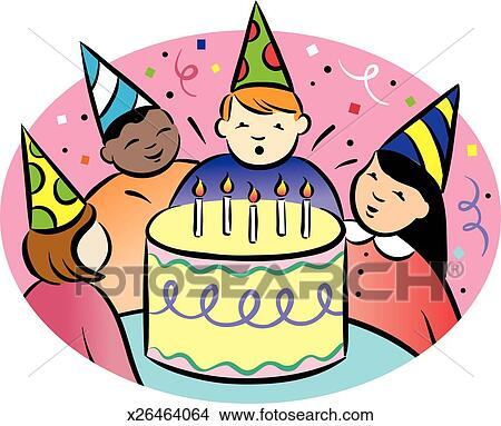 Drawings of Childrens Birthday Party x26464064 Search Clip Art