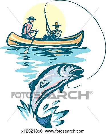 Stock Illustration of Men Fishing x12321856 - Search Clip Art, Drawings, Fine Art ...