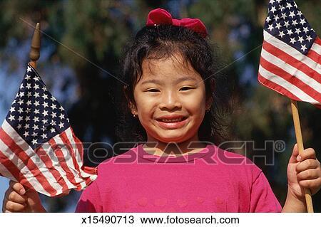 握住 美国人旗