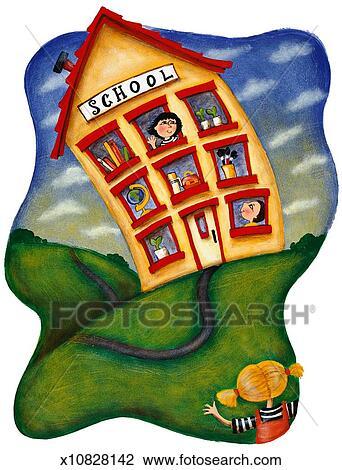School Window Clipart clip art of girl waving to teacher in school window, boy looking