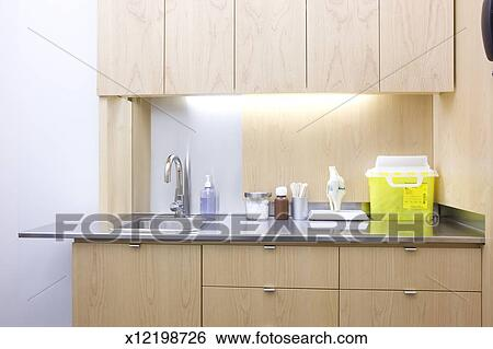 stock images of sink and counter top in doctors office x12198726