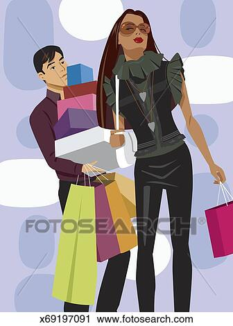 Stock Photography of Man carrying boxes and shopping bags for ...