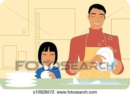 Washing dishes Illustrations and Stock Art. 257 washing dishes ...