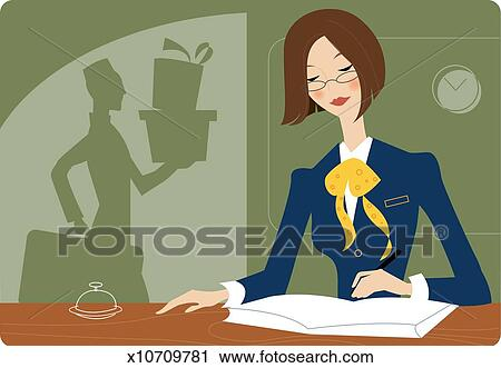 Clipart Receptionist At Front Desk Of Hotel Fotosearch Search Clip Art Illustration