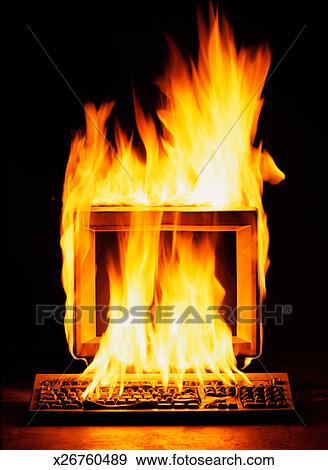 Stock Photograph of Computer on Fire x26760489 - Search ...