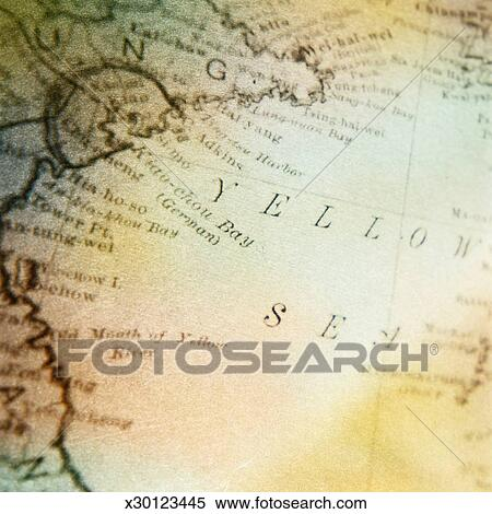 Stock Image of Map Focus on Yellow Sea East Asia x30123445