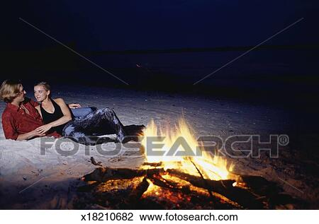 Beach Campfire Couple