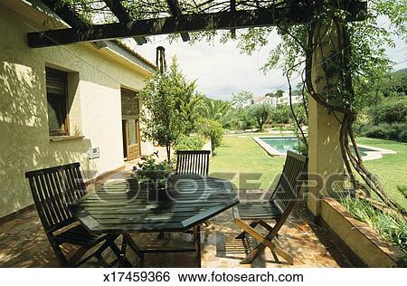Stock afbeeldingen loofhout tuinmeubelen op terras buiten woning x17459366 zoek - Tuinmeubelen buiten ...