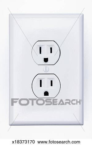 Stock Photography of Double electrical outlet, close-up x18373170 ...