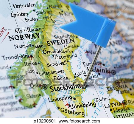 Stock Photography of Map pin placed on Stockholm Sweden on map