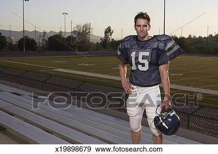 Standing Football Football Player Standing in