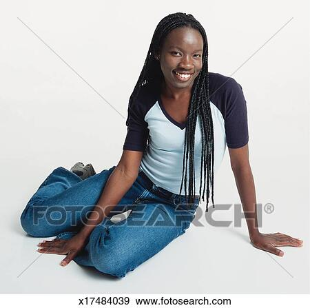 Stock Photograph Of A Beautiful Young Black Woman With