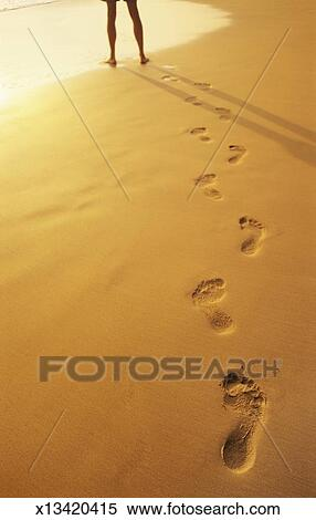 Stock Image of Footprints in the Sand Leading to Low Section of a ...