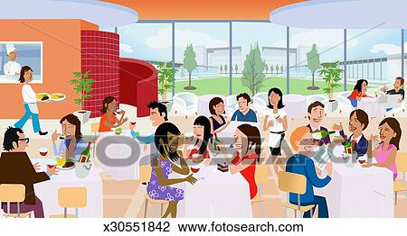 Stock Photo of Large Group of People Sit Eating and Talking at ...