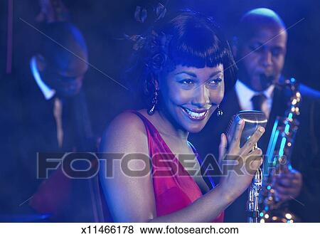 Pictures of Female Jazz Singer Performs by a Retro ...
