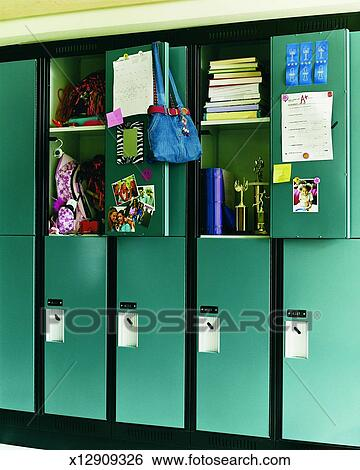 Stock Images of Two Open High School Lockers x12909326 ...