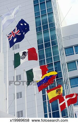 pictures of 39 flags of the world at the fountain bleu hotel. Black Bedroom Furniture Sets. Home Design Ideas