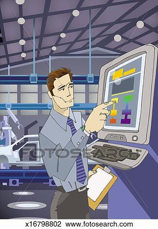 写真素材・動画素材・イラスト素材工員 押す コントロールパネル 中に 自動化された 工場 ために 車の製造業 ストックフォトと画像素材