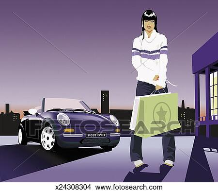Holding shopping bags in front of a sports car view large illustration