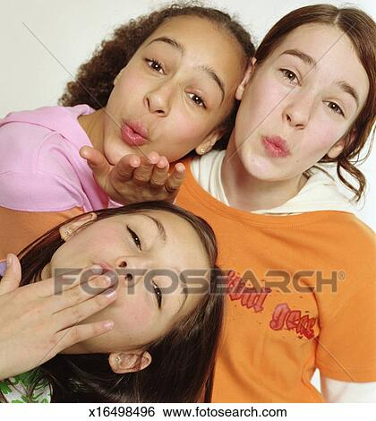 Stock Images Of Group Of Girls Blowing Kisses Portrait - 10 portrait photos of people before after the photographer kissed them