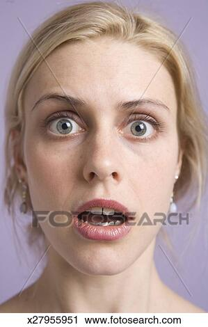 Stock Photography Of Young Woman With Eyes Wide Open