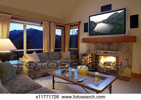 Archivio di Immagini - soggiorno, con, televisione schermo ...