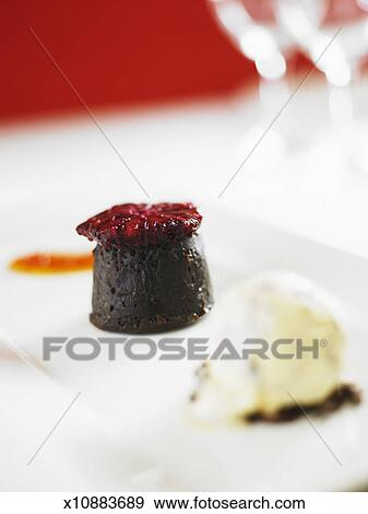 Stock Photograph of Chocolate truffle cake with mint and ...