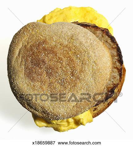 Picture of Sausage and scrambled egg on whloe wheat muffin ...