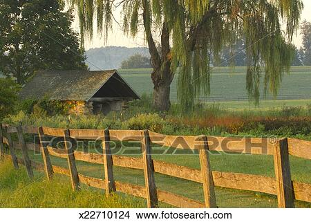 Stock Photo of Wood fence by old country house x22710124 ...
