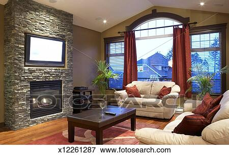 Picture of Modern living room with fireplace and flat screen – Living Room Screen