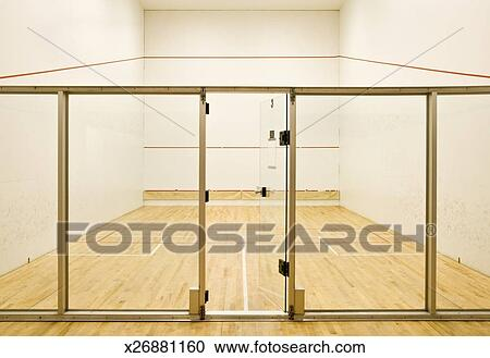 glass door entrance. Glass Door Entrance Onto Empty Squash Court