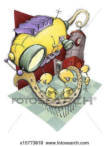 写真素材・動画素材・イラスト素材イラスト - ロボット, 工員, 下に, 監視