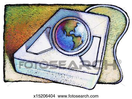 Dessins globe incorpor dans souris ordinateur - Souris ordinateur dessin ...