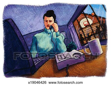Stock Illustration of Woman using phone and laptop computer ...