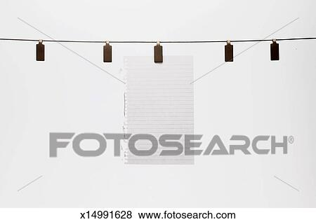 Hanging Pictures On Wire pictures of blank white paper hanging on wire x14991628 - search