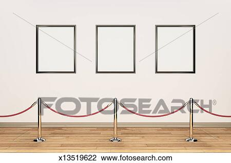 Stock photo gallery wall rope barrier and empty frames fotosearch