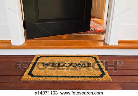 Stock Photo   Welcome Mat And Front Door. Fotosearch   Search Stock Images,  Poster