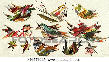 Stock Image of Painted Paper Cut Birds x16576025Search Stock