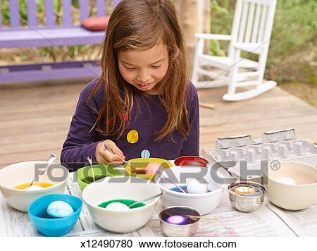 Stock Photography Of Easter Egg Coloring And Egghunt