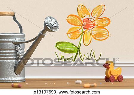 免版税(rf)类图片 - 画, 花, 带, 喷壶, 同时,, 玩具鸭子.图片