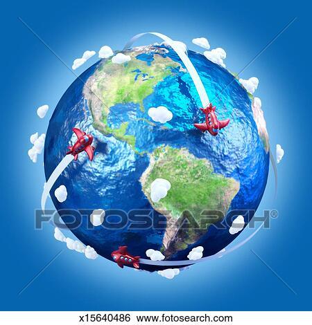 Banque d 39 images avions dans dessin anim style au - Dessin avion stylise ...