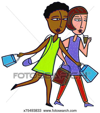 drawing of teenage girls going shopping x75493833 search clipart rh fotosearch com teenage girl clipart teenage girl clipart images