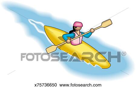 Sea kayaking clipart