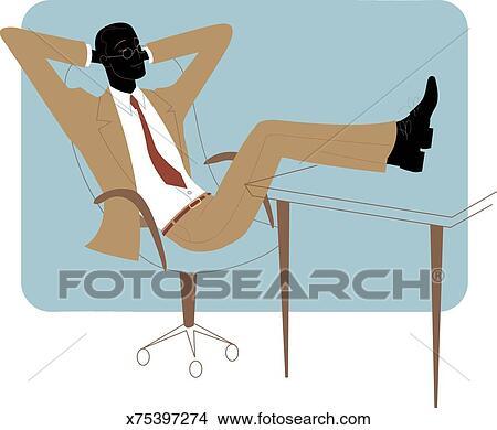 手绘图 - 商人, 放松,图片