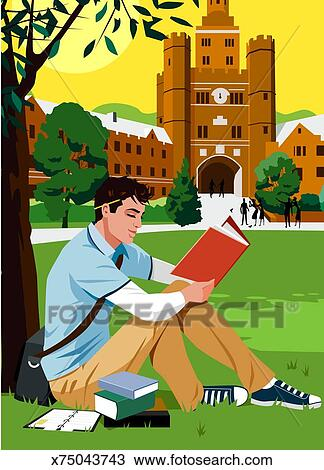 Drawing of Young man reading book beside tree on college campus ...
